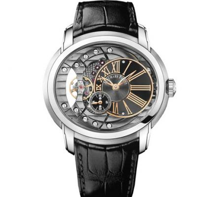 V9爱彼千禧系列15350款白金镶钻男装腕表,皮表带 自动机械男士腕表