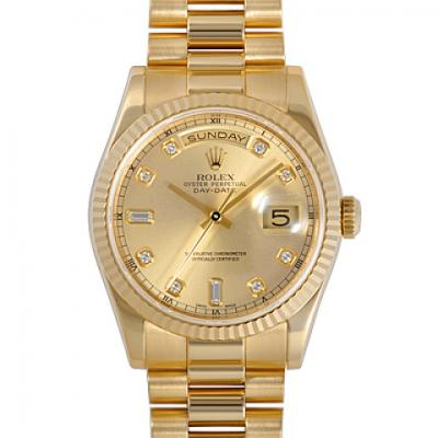 劳力仕118238A-83208,精钢外壳镀K金机械男士手表。