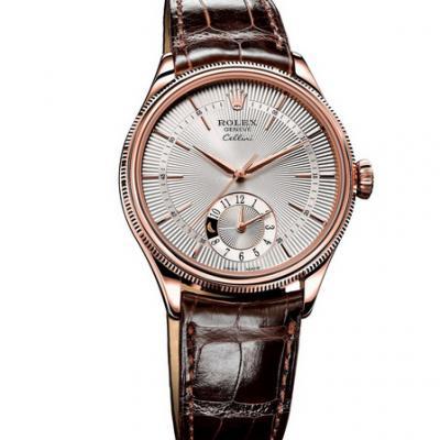 劳力士切利尼50525白盘,六点钟位置双时区计时。款式:自动机械机芯,男士手表,材质:18k玫瑰金包