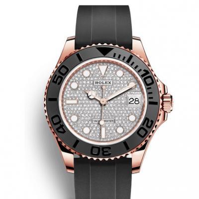 KS劳力士金游艇Rolex m116655-0005镶满钻字面 橡胶表带 自动机械机芯 男士腕表