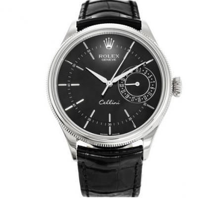 MKS劳力士切利尼系列50519黑面白钢男士机械手表