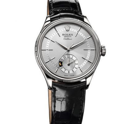 劳力士切利尼50529白盘机械男士手表。