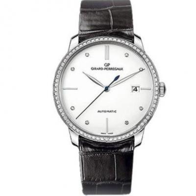 FK芝柏1966系列49525D-53A-1A1-BK6A男士机械皮带手表 白盘 镶钻