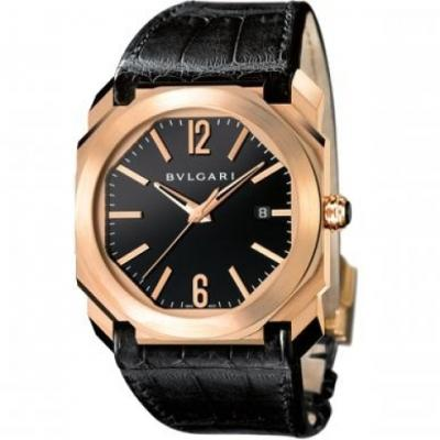 宝格丽 OCTO系列101963玫瑰金黑盘男士机械腕表