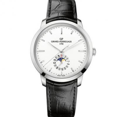 VF芝柏1966系列49545-11-131-BB60月相功能白色男士机械手表 皮带