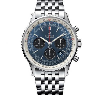 GF厂百年灵航空计时1 B01计时腕表,男士自动机械计时腕表,蓝盘,钢带