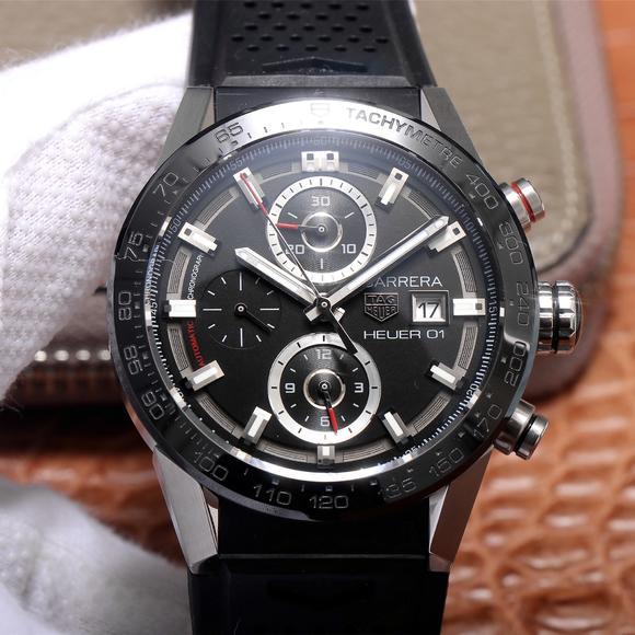 """XF泰格豪雅卡莱拉之""""黑面旋风""""橡胶表带,男士手表,自动机械机芯"""