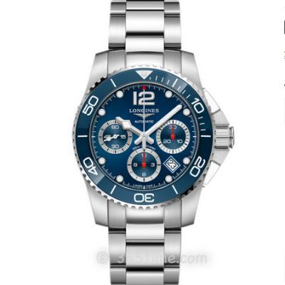 8F厂浪琴康卡斯运动计时系列L3.783.4.96.6潜水腕表 ,钢带男士机械计时手表