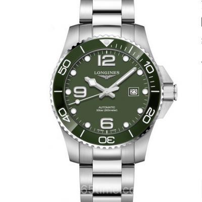 ZF浪琴康卡斯系列L3.782.4.06.6运动绿色钢带男士机械表