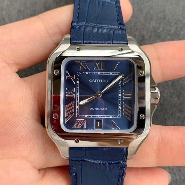 V6厂卡地亚山度士WSSA0030蓝面机械手表