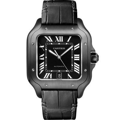 HBBV6厂卡地亚山度士系列WSSA0039 碳镀层机械男士手表