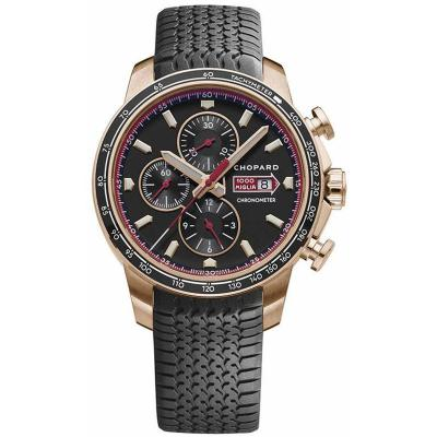 V7厂萧邦赛车系列161293-5001玫瑰金计时机械胶带手表