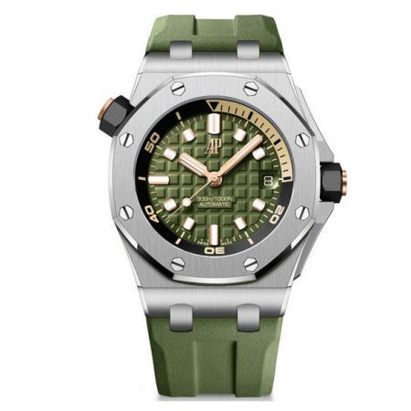 BF厂顶级复刻爱彼AP皇家橡树15720军绿42mm男士机械胶带潜水腕表