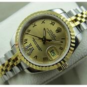 瑞士名表 高仿劳力士ROLEX18K包金 间金钢带全自动机械手表 男士手表 瑞士机芯
